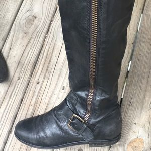Steve Madden black leather riding boots